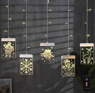 M MINGLE Christmas String Lights, LED String Light for Christmas Tree, 22 LED Lights, USB Powered, 5 FT Length, 2.3 FT Height, Warm White, Snowman, Santa, Snow, Reindeer, Jingle Bell
