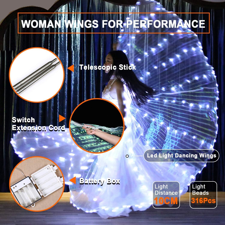 BBLAC 2KEY Vrouwenvleugels | Halloween kostuum voor prestaties | Buikdansvleugel met 316 stuks lichten en 2 stuks telescopische stokken | Butterfly Shows A
