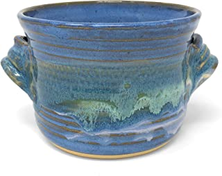 Mosquito Mud Pottery Bread Baker Deep Dish Casserole with Handles, Blue