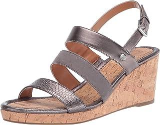 Bandolino Footwear Women's Wedge Sandal, Pewter, 6