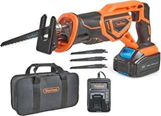 """VonHaus 20V MAX Lithium-Ion Cordless Reciprocating Saw Kit with 4x Wood Blades and 1"""" Stroke Length For Wood & Metal Cutting - Includes 3.0Ah Battery, Smart Charger, and Power Tool Bag"""
