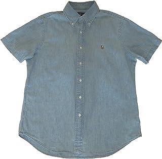 Ralph Lauren Polo Mens Cotton Chambray Short Sleeve Button-Down Shirt Blue