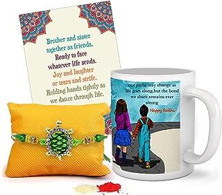 TIED RIBBONS Rakhi for Brother with Gift Combo, Rakhi Gift Set for Brother (Designer Rakhi, Printed Coffee Mug, Rakshabandhan Special Card)