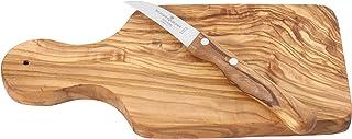 Schwertkrone Holzbrett Olive | Kräuterbrett  Obstmesser gebogen | Schneidebrett aus Olivenholz  Gemüsemesser | Schälmesser gebogen Solingen rostfrei Olivenholz, Schälmesser gebogen