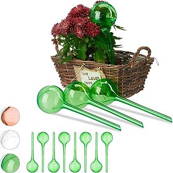 Relaxdays 12 x Bewässerungskugeln, Dosierte Bewässerung, 2 Wochen, Versenkbar, Topfpflanzen, Kunststoff, Bewässerungshilfe, grün