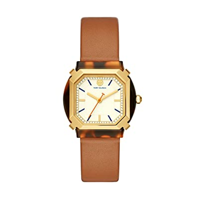 Tory Burch Blake Leather Watch (Brown) Watches