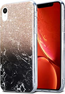 Kit Me Out World iPhone XR Case TPU Gel Durable Protective Protection Marble Effect Cover for Apple iPhone XR - Black and Gold