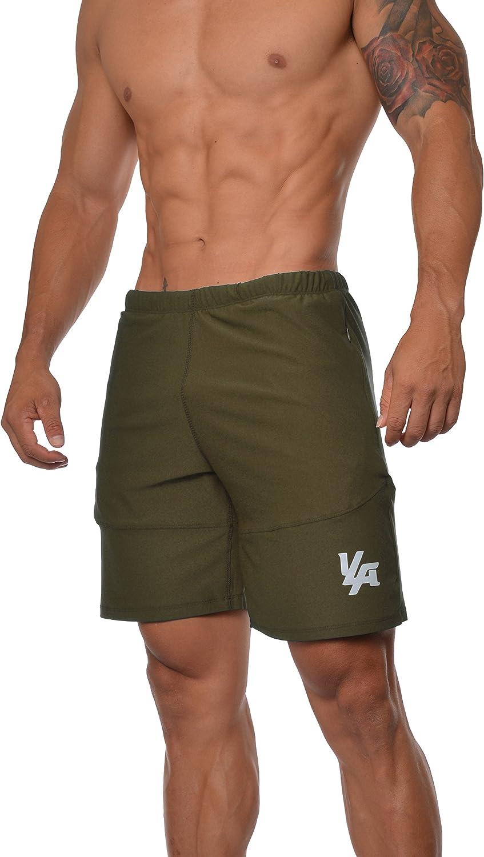 YoungLA Men's Yoga Running Running Shorts Zipper Pockets