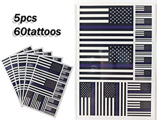 JBCD Thin Blue line American Temporary Tattoos 60 Pcs USA Police Stickers, Waterproof Tattoos Police and Fire Officer Flags Tattoo Patriotic Face Tattoos, Suitable for Event Parties and Decorations