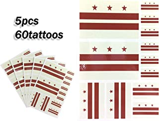 JBCD District of Columbia Temporary Tattoos 60 Pcs Stickers, Waterproof tattoos State Flags Tattoo Patriotic Face Tattoos Suitable for Sports Event Parties and Pride Decorations