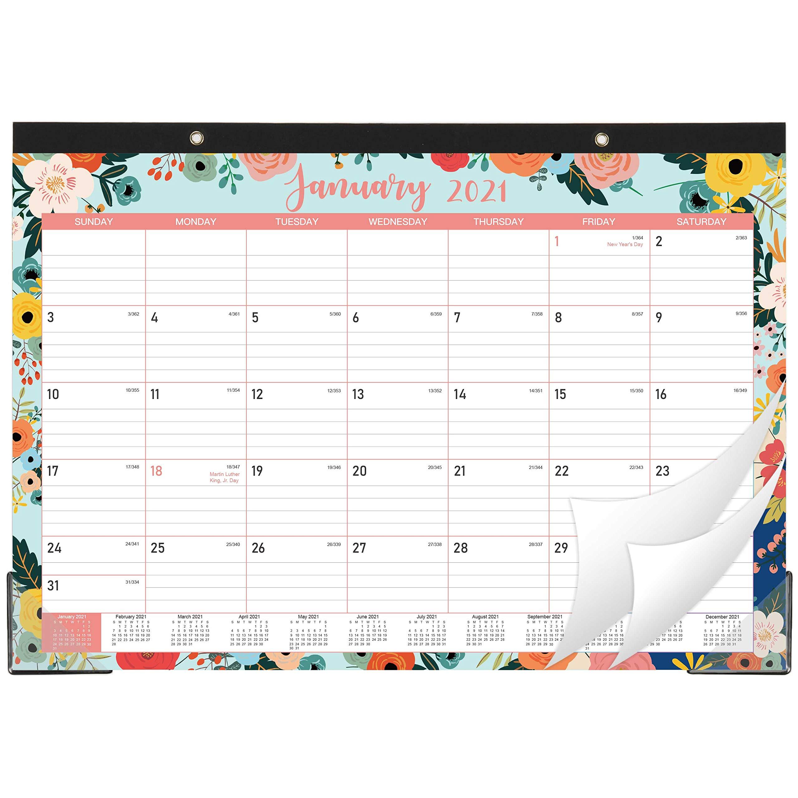 "12 Monthly Desk//Wall Calendar 2-In-1 2021 Desk Calendar 16.8/"" X 12/"" January"