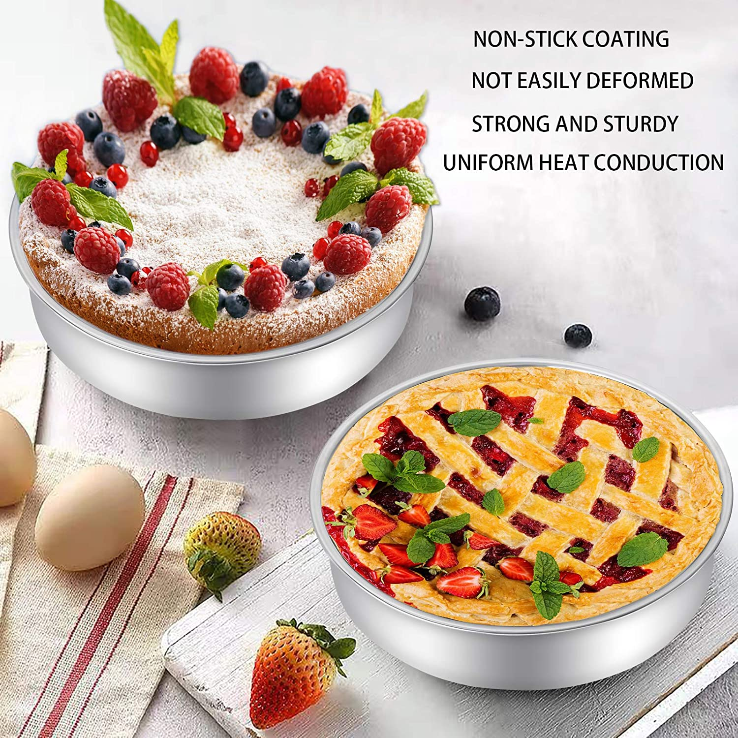 Non-Stick /& Quick Release Heavy Duty /& Even-Heating Set of 3 by AIKKIL Cake Pans 6,8,10 Inch 2Deep Stainless Steel Round Cake Tary,Baking Cake Pan Set