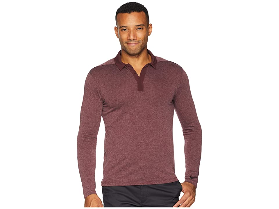 Nike Golf Dry Polo Long Sleeve (Burgundy Crush/Black) Men