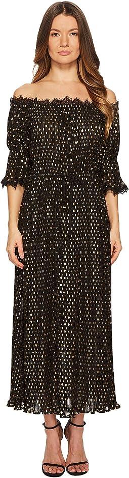 Long Polka-Dot Print Dress