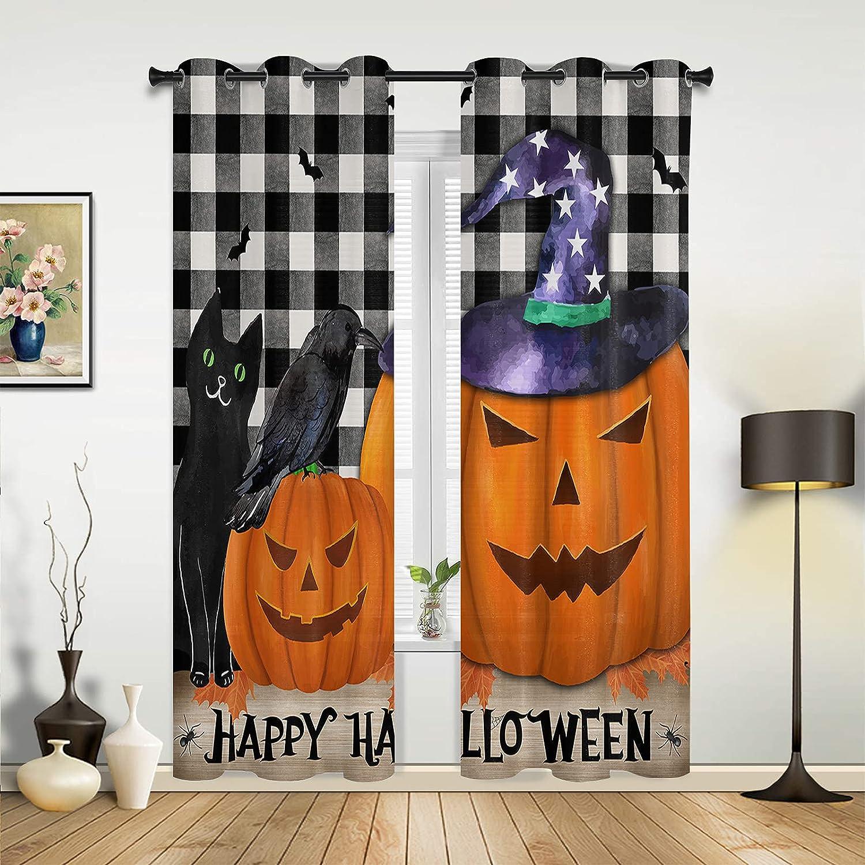Sales results No. Regular dealer 1 Window Sheer Curtains for Bedroom Halloween Living Room Wi Happy