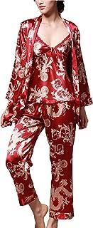 Uniquestyle À Manches Longues Pyjama de Soie de Femme Sexy de Confort Trois-pièces