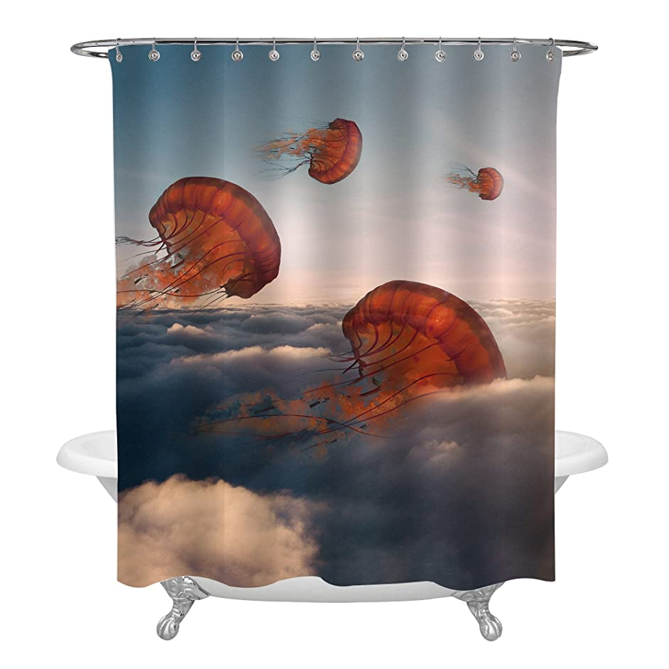 MitoVilla Coral Jellyfish Shower Curtain, Ocean Animals Jellyfishes Float in The Sky Surreal Artwork, Whimsical Bathroom Decor, Novelty Gifts Holiday Presents for Adults, 72x72 Standard Size