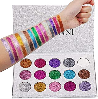 VERONNI 15 Colors Pigmented Colorful Pressed Shimmer Glitter Eyeshadow Palette (Better With Primer Or Base) Bare Minerals Highly Pigmented Metallic Bright Magnetic Eye Shadow Makeup Pallet