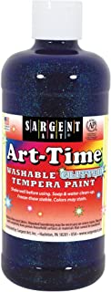 Sargent Art 17-3750 16 Ounce Art-Time Washable Glitter Tempera Paint, Blue