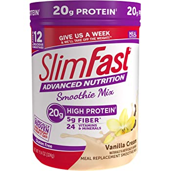 SlimFast Advanced Nutrition Vanilla Cream Smoothie Mix - Weight Loss Meal Replacement - 20g of protein - 12 servings - 11.4 Ounce Canister - Pantry Friendly
