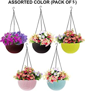 ViMe Multicolor Rattan Hanging Pots, Beautiful Round Rattan Woven Plastic Flower Hanging Planter, Hanging Planter for Plants, Plant Containers Set, Hanging Pots Set for Garden, Balcony (Pack of 5)