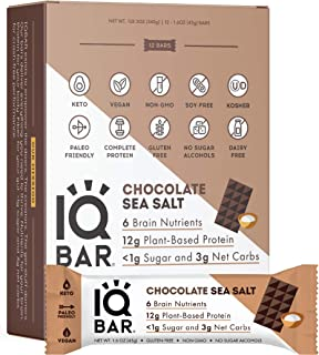IQBAR Brain and Body Keto Protein Bars - Chocolate Sea Salt Keto Bars - 12-Count Energy Bars - Low Carb Pro...