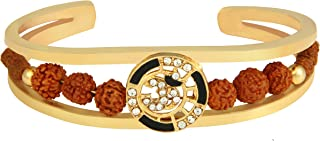 Charms Rudraksh American Diamond Gold Meena Om Cuff Kada Bracelet for Men Be the first to review this item