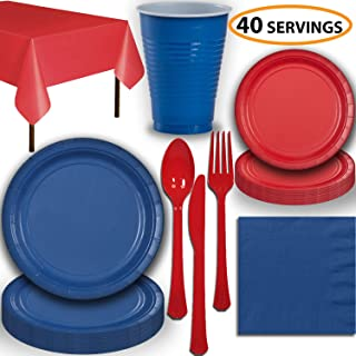 Disposable Party Supplies, Serves 40 - Blue and Red - Large and Small Paper Plates, 12 oz Plastic Cups, Heavyweight Cutlery, Napkins, and Tablecloths. Full Two-Tone Tableware Set