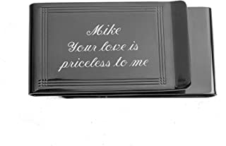 Personalized Double Sided Gunmetal Money Clip Engraved Free