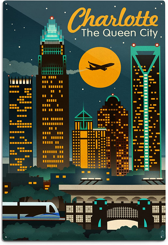 Lantern Press Charlotte North Carolina sale 47643 Animer and price revision Retro Skyline 12