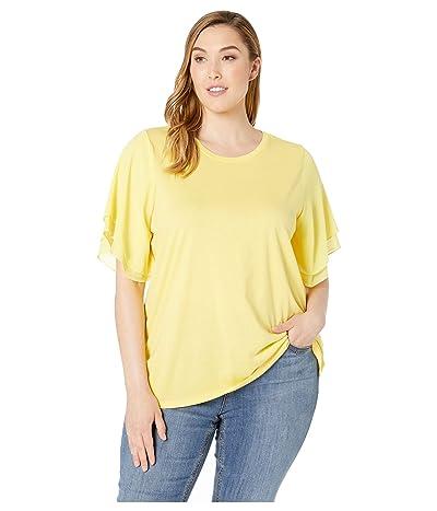 MICHAEL Michael Kors Plus Size Woven Georgette Flutter Sleeve Tee (Sunshine) Women