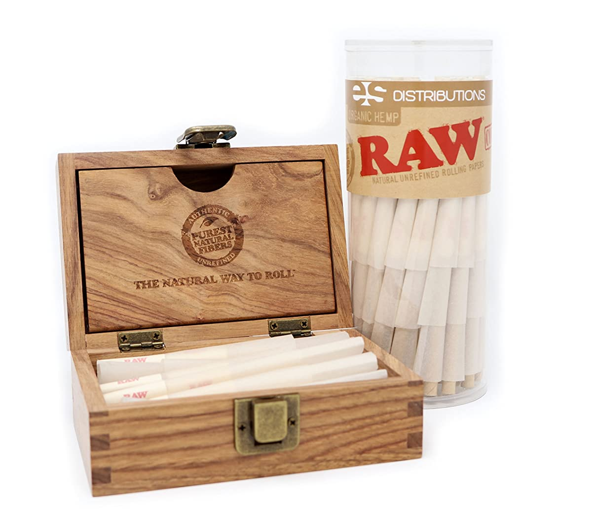 RAW Organic 1 1/4 Pre-Rolled Cones with Filter Tips - Bundle (75 Pack with RAW Storage Box)