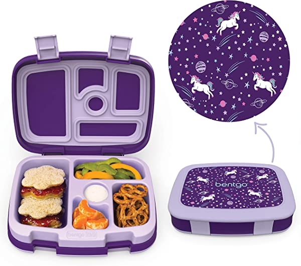 Bentgo Kids Prints Unicorn Leak Proof 5 Compartment Bento Style Kids Lunch Box Ideal Portion Sizes For Ages 3 To 7 BPA Free And Food Safe Materials