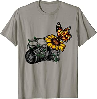 Camera Sunflower Buttefly Tshirt Funny Photography Gift