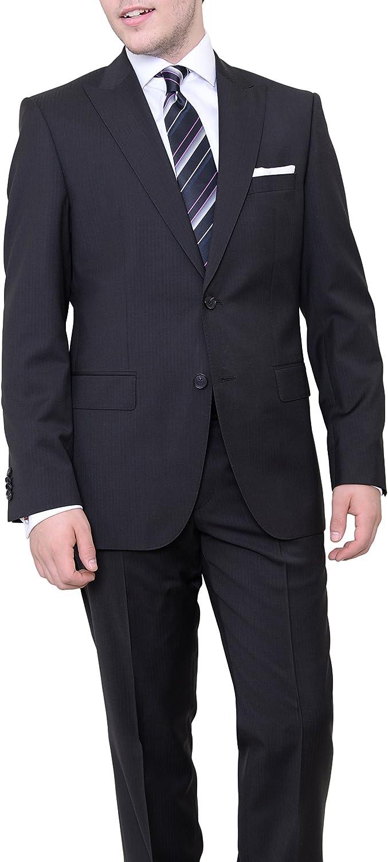 Hugo Boss Thefordham/Central Black Tonal Striped Wool Suit with Peak Lapels