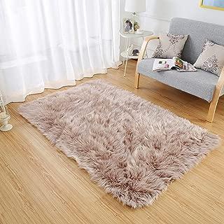 LEEVAN Rectangle Sheepskin Rug Supersoft Fluffy Area Rug Shaggy Silky Throw Rug Floor Mat Carpet Decoration (4 ft x 6 ft, Coffee)