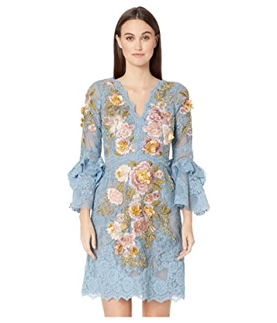 Marchesa A-Line Cocktail Dress with Multicolor 3D Flowers Embroidery (Dusty Blue) Women