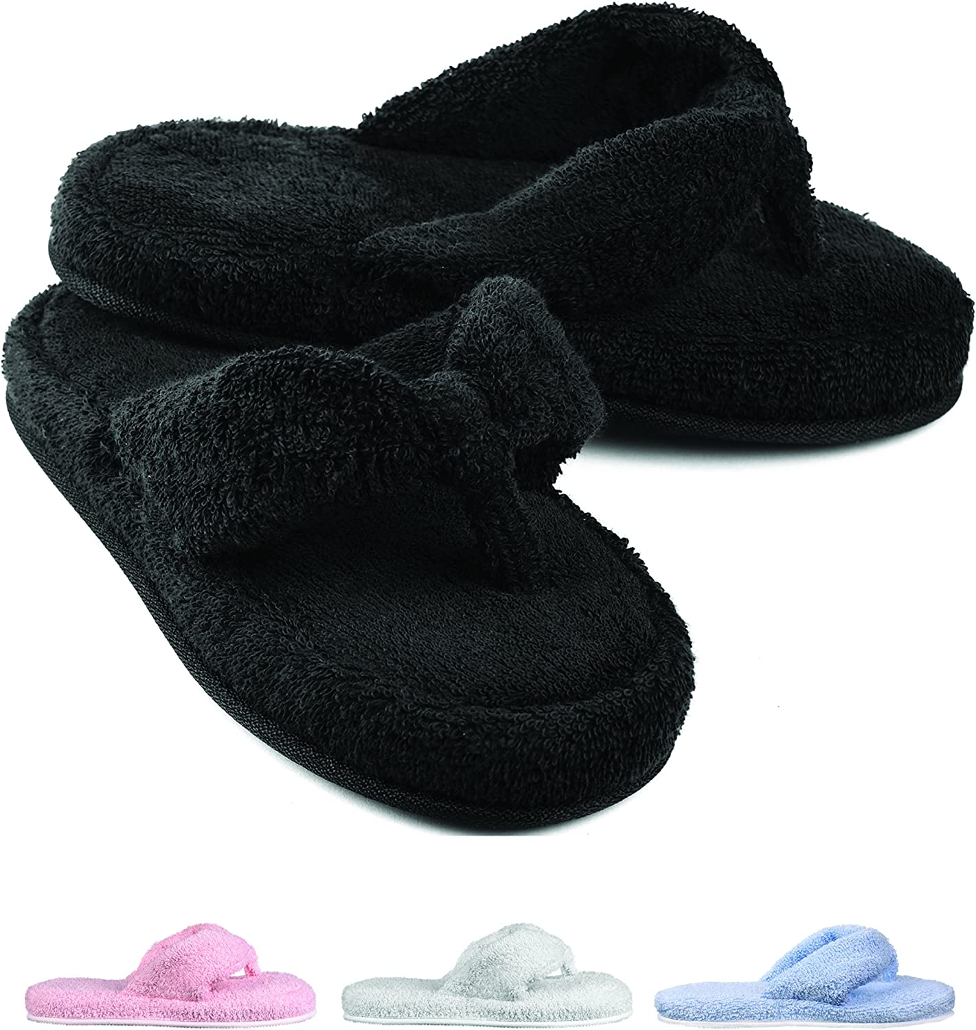 EuropeanSoftest Women's Cozy Memory Foam Soft Premium 100% Terry Cotton Cloth SPA Thong Flip Flops House Indoor Slippers