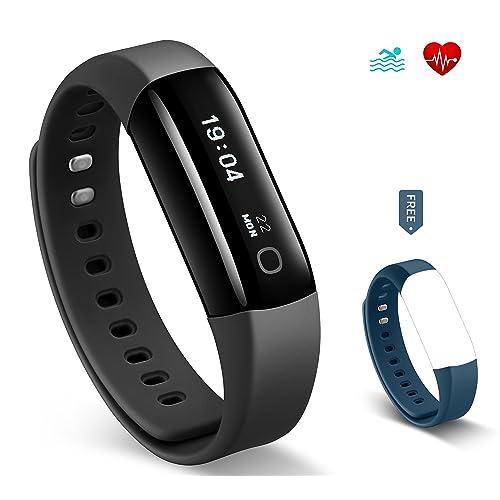 Fitness Tracker HolyHigh Vigorun 4 HR con Cardiofrequenzimetro da Polso, Bracciale Intelligente Nuoto impermeabile IP68/ Contapassi /Contacalorie e avviso Sedentarietà per Android e iOS