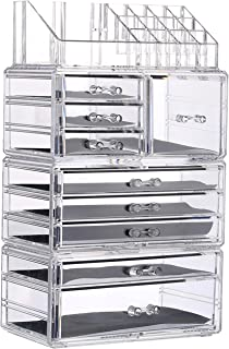 PENGKE Clear Makeup Organizer,Acrylic Jewelry and Cosmetic Storage,Large Capacity for Beauty Product Organizer,Storage Cosmetic, Brushes, Palettes, Lipsticks,9 Drawers Keep Your Vanity Organized