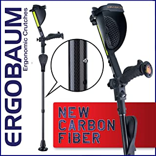 Ergobaum¨ Prime by Ergoactives. 1 Pair (2 Units) of Ergonomic Forearm Crutches - Adult 5' - 6'6'' Adjustable (Carbon Fiber)