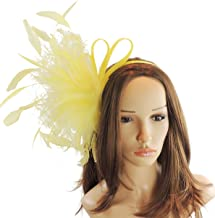 Cute & Fun Charley Beige Sinamay Feathers Ascot/Derby Fascinator Hat- with Headband - Available in 40 Colours