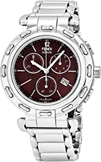 Selleria Mens Stainless Steel Swiss Chronograph Watch with Selleria Horse Logo on Back - Brown Face Analog Quartz Fashion Dress Watch for Men with Interchangeable Band F89032H