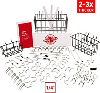 Extra Thick 57pcs Pegboard Accessories Organizer Kit | 1/4 Inch Peg Board Attachments | Peg Board Hook Set and Pegboard Basket Set for Tools - Heavy Duty - Does Not Fall Out Off The Board