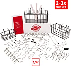 Extra Thick 60pcs Pegboard Accessories Organizer Kit   1/4 Inch Peg Board Attachments   Peg Board Hook Set and Pegboard Basket Set for Tools - Heavy Duty - Does Not Fall Out Off The Board