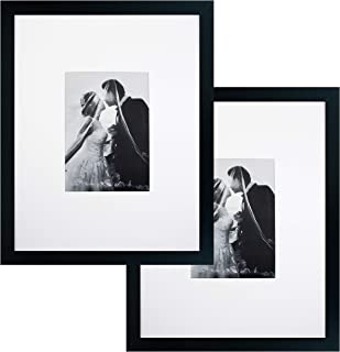 11x14 Black Gallery Picture Frame with 5x7 Mat 2-Pack - Great Gift - Mat for Wedding and Celebration Signatures - Includes Attached Hanging Hardware and Desktop Easel - Display 5 x 7 or 11 x 14