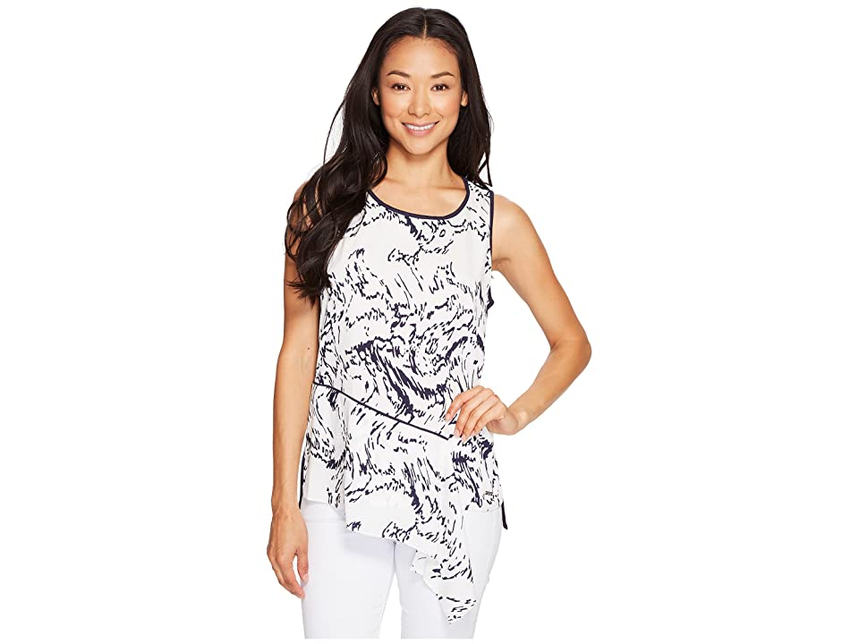 Ivanka Trump Printed Georgette Top with Solid Knit Back (Ivory/Navy) Women's Sleeveless, White