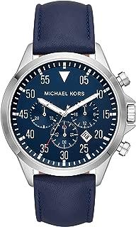 Michael Kors Men's Gage Stainless Steel Quartz Leather Strap, Blue, 22 Casual Watch (Model: MK8617)