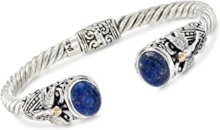 Ross-Simons Lapis and 2-Tone Sterling Silver Dragonfly Cuff Bracelet For Women 7 Inch 925