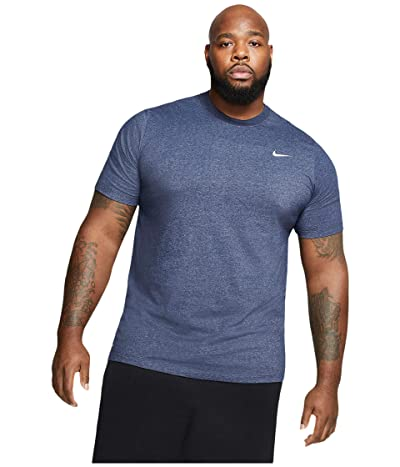 Nike Big Tall Dry Tee Dri-Fit Cotton Crew Solid (Obsidian Heather/Matte Silver) Men